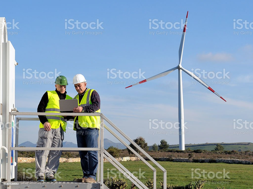 Detecting installation wind turbines stock photo