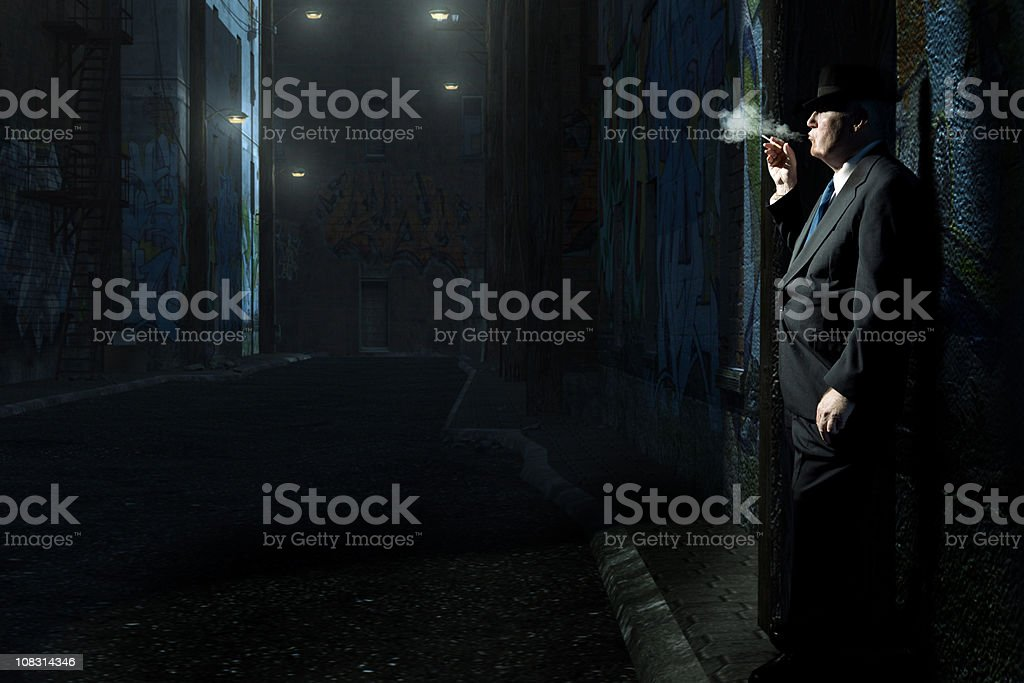 Detective in Alley stock photo