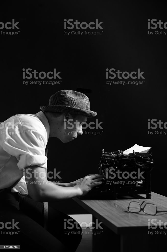 Detective or Reporter Working Late Hours stock photo