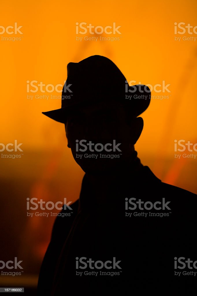 detective silhouette stock photo