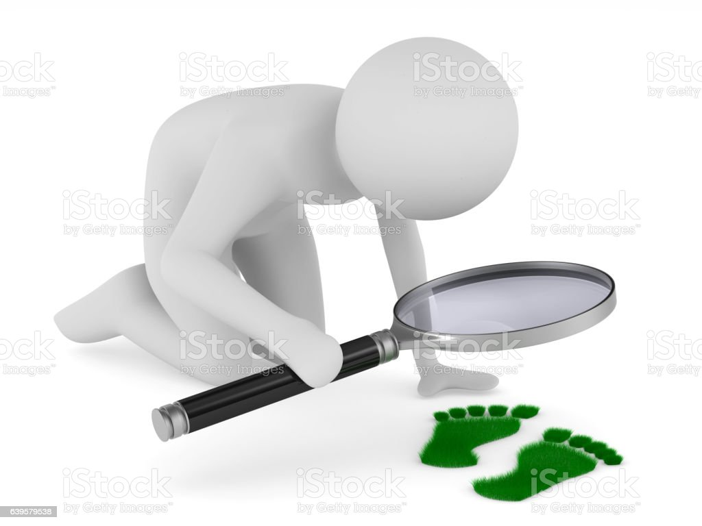 detective studies traces. Isolated 3D image on white stock photo