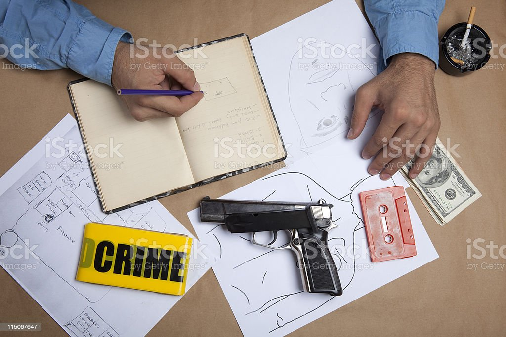 Detective Working On Documents Evidence royalty-free stock photo