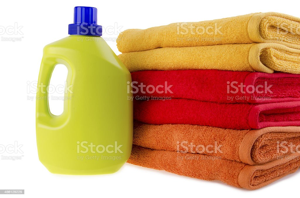 Detergent and towels stock photo