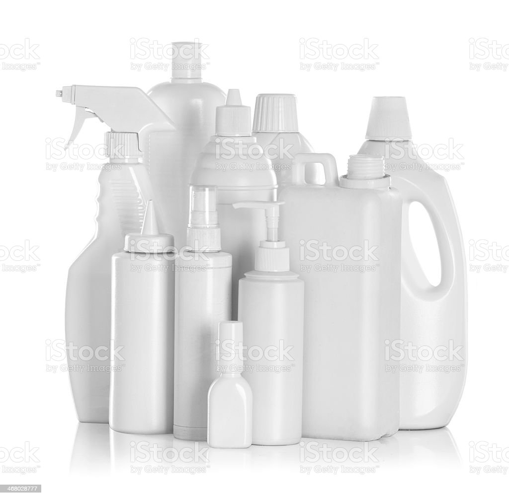 detergent bottles and chemical cleaning supplies stock photo
