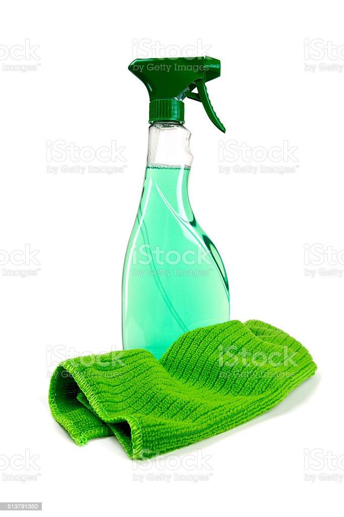 detergent spray bottle isolated on white background stock photo