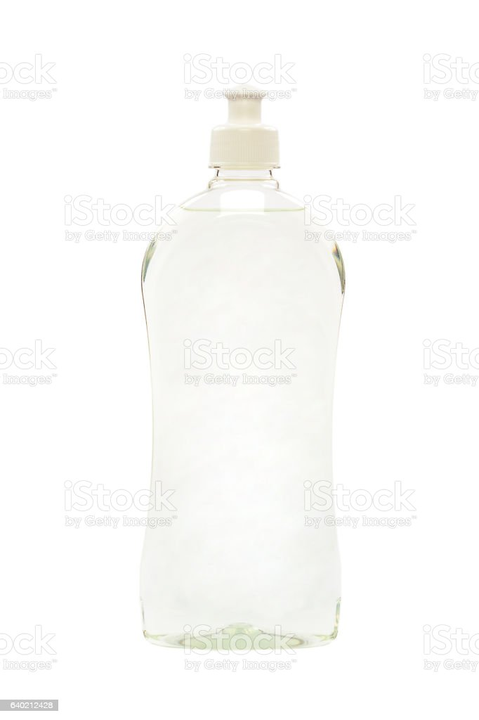 Detergents, body care products in plastic bottles stock photo
