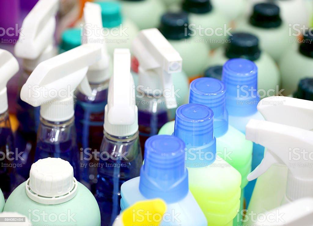 Detergents in plastic bottles. stock photo
