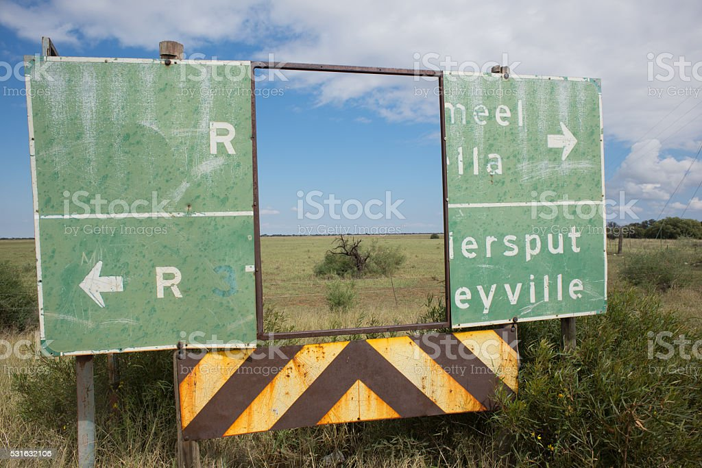 Deteriorateds Road Sign as Frame stock photo