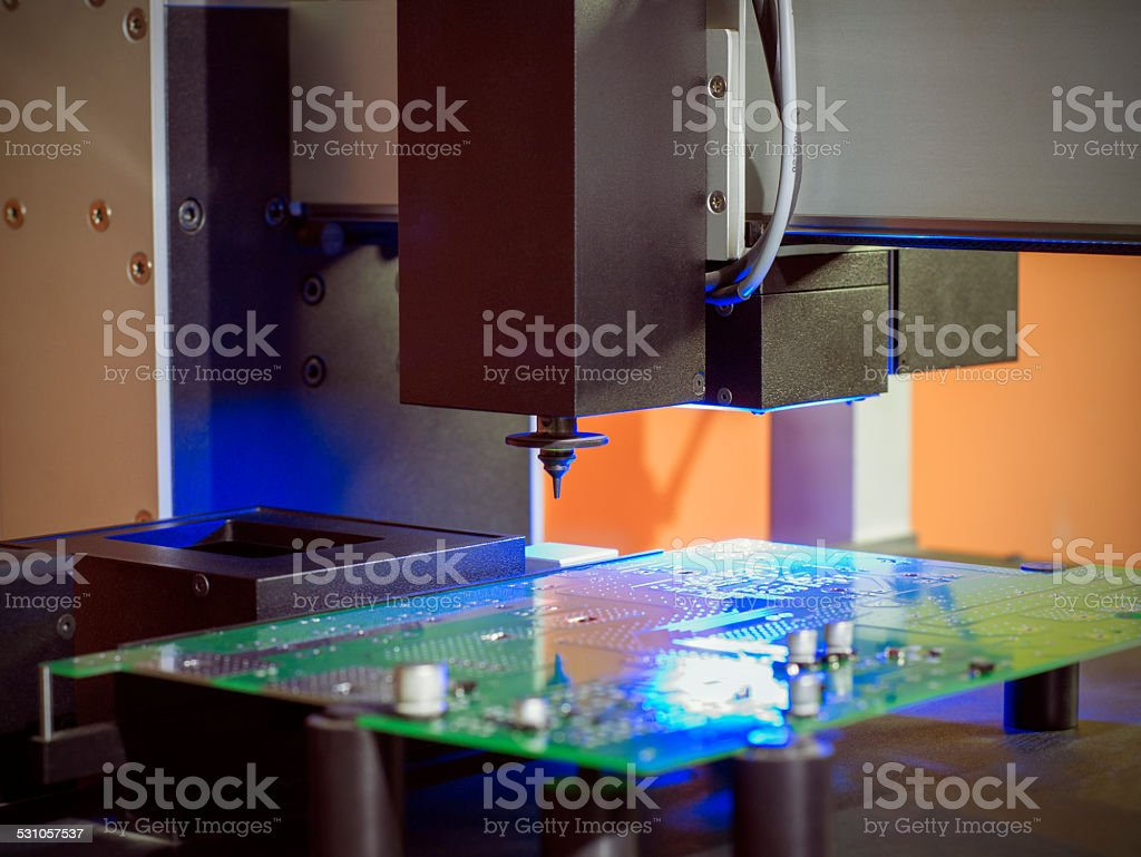 Determination of coordinates of the robot manipulator stock photo