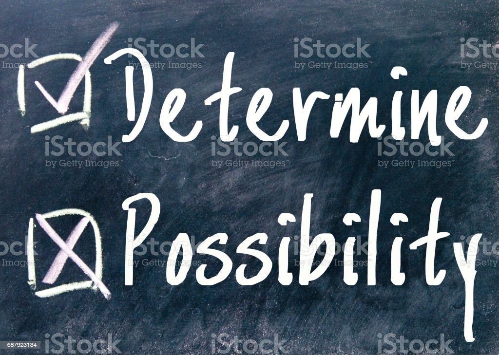 determine or possibility choice stock photo
