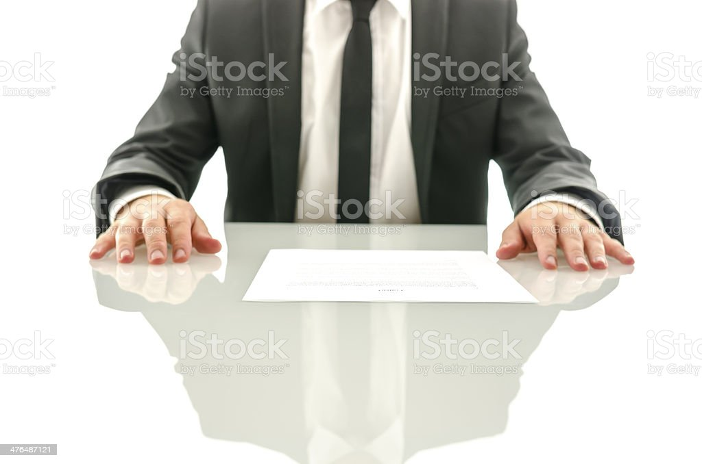 Determined business man with contract royalty-free stock photo