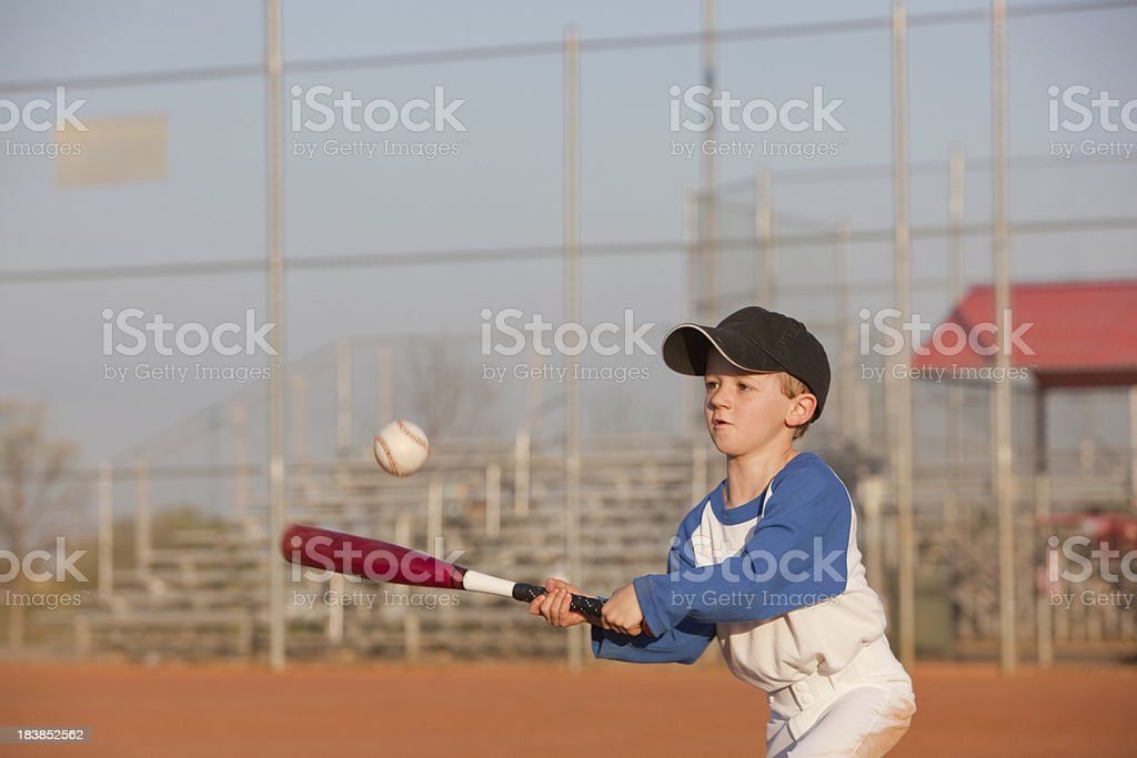 Determined Little Baseball Hitter stock photo