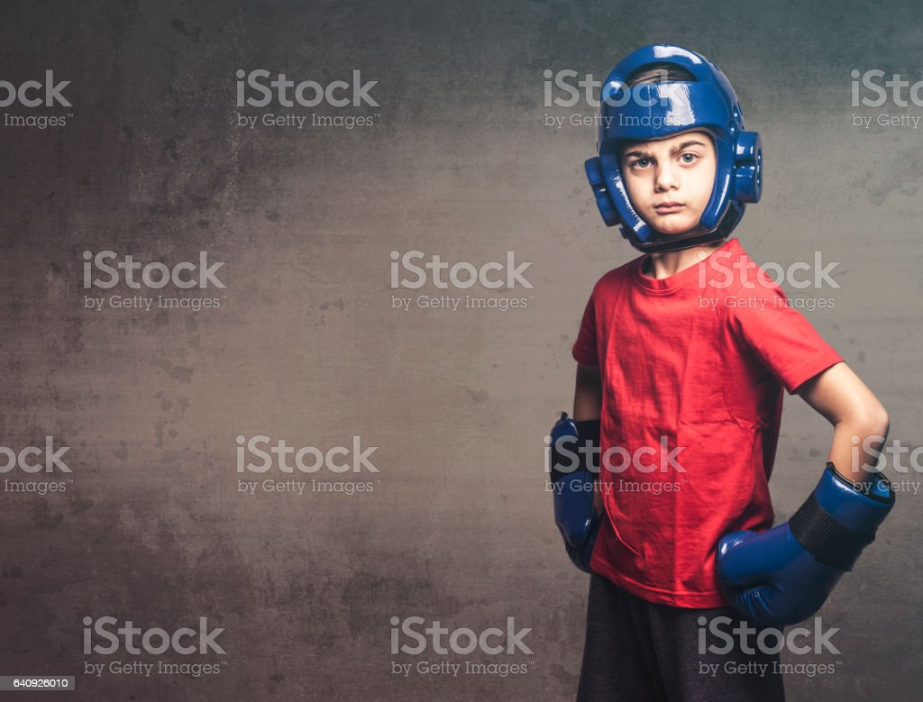 Determined little fighter stock photo