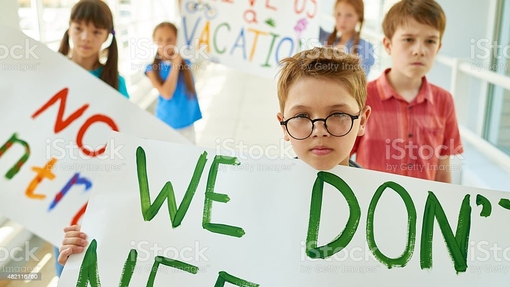 Determined little protestors stock photo