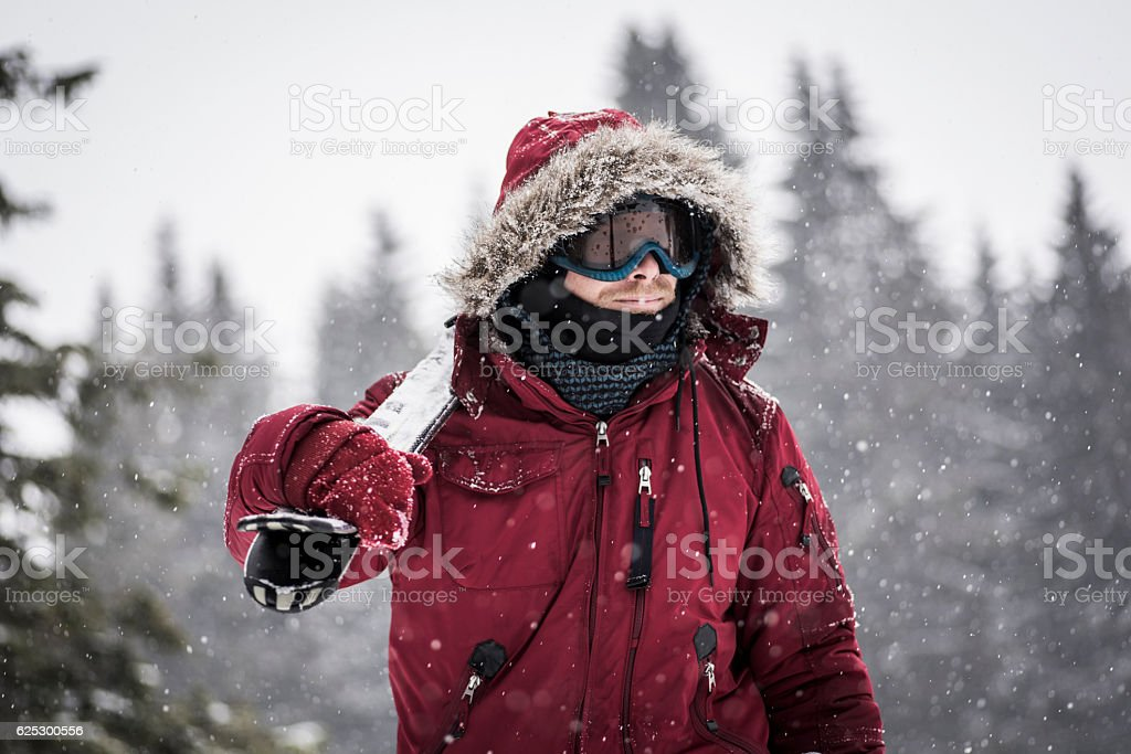 Determined skier stock photo