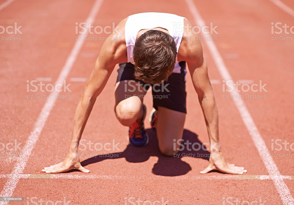 Determined to beat his best time stock photo