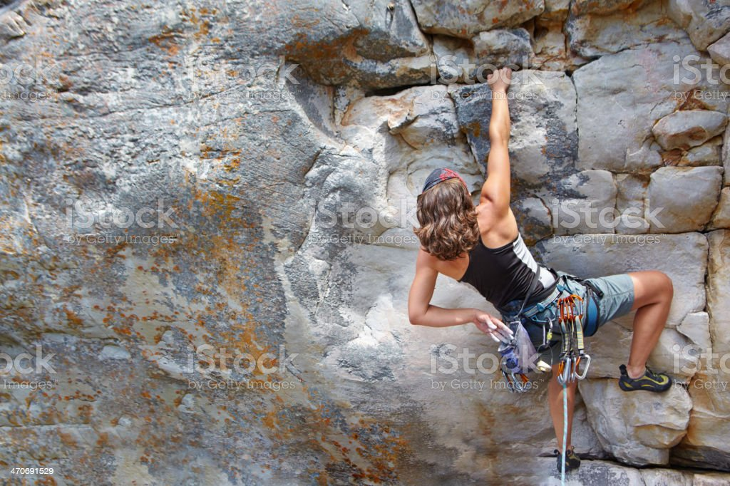 Determined to reach the top stock photo