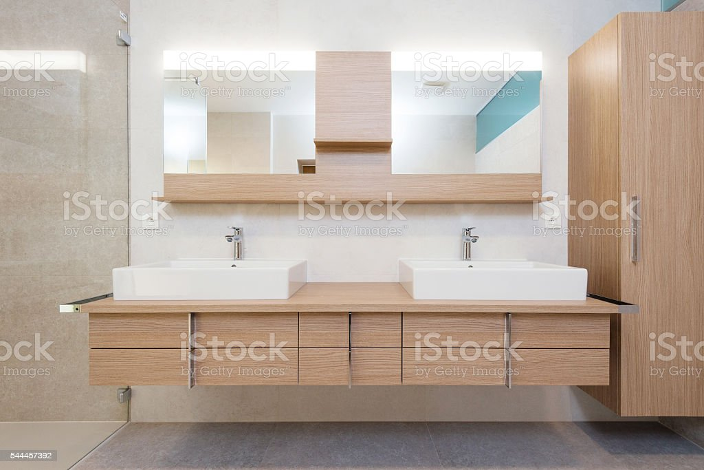 detial of modern bathroom interior stock photo