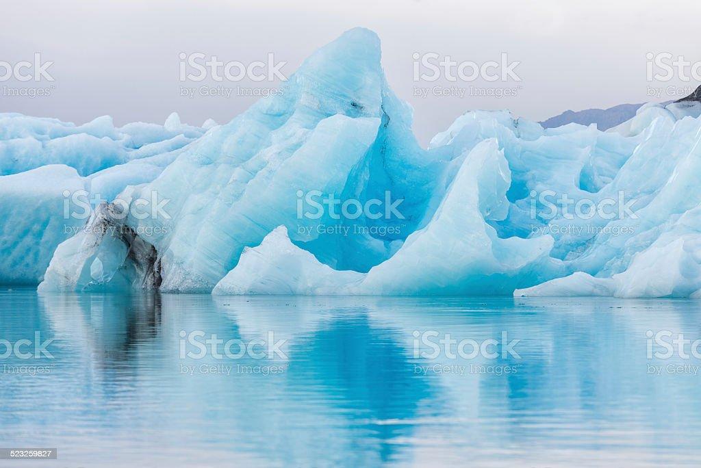 Detial view of iceberg in ice lagoon - Jokulsarlon, Iceland. stock photo