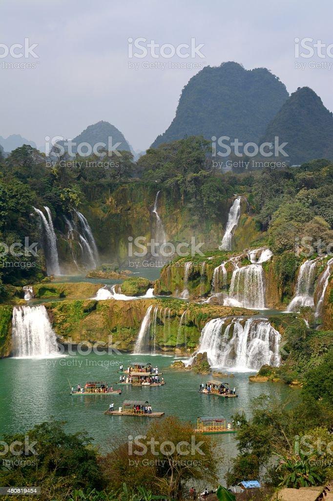Detian waterfalls, panoramic view - Guangxi, China stock photo