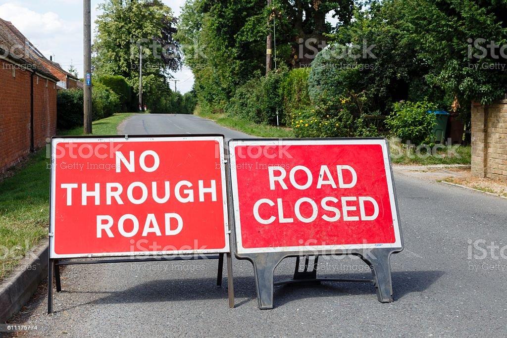 Detour, blocked road stock photo