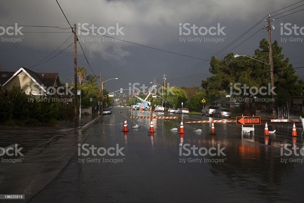 Detour - powerline down during storm stock photo