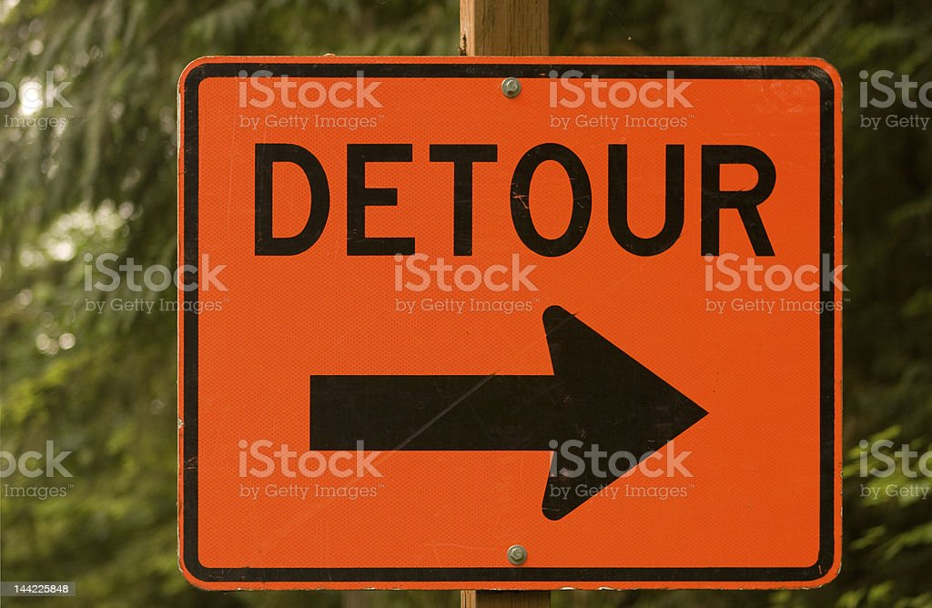 Detour road sign stock photo