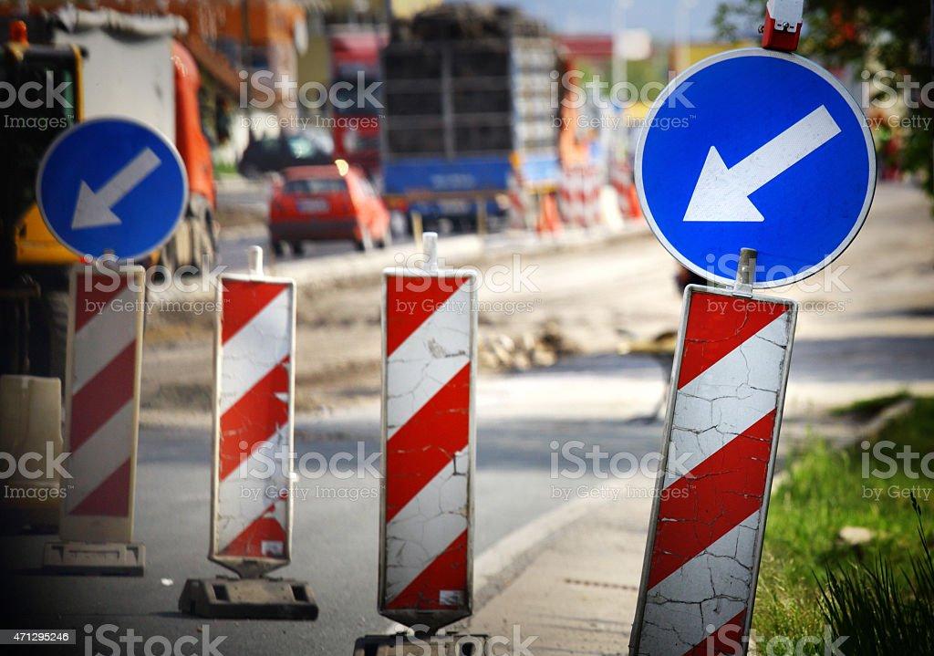 Detour road signs. stock photo
