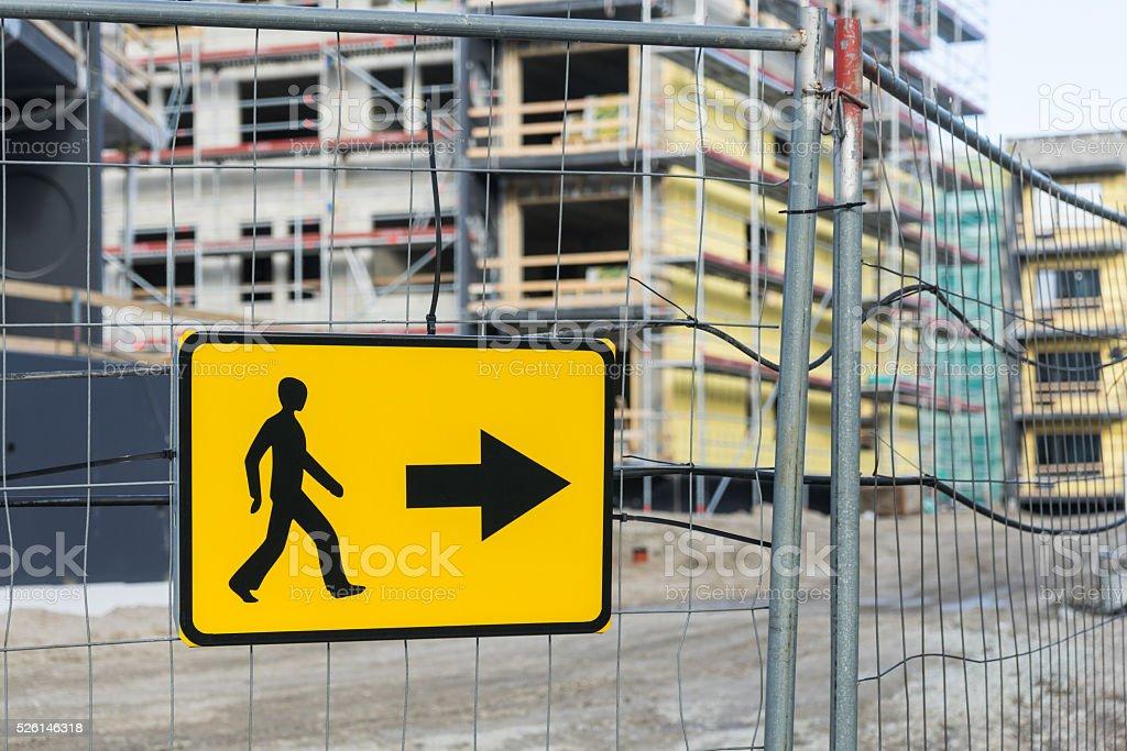 Detour sign for pedestrian sidewalk stock photo