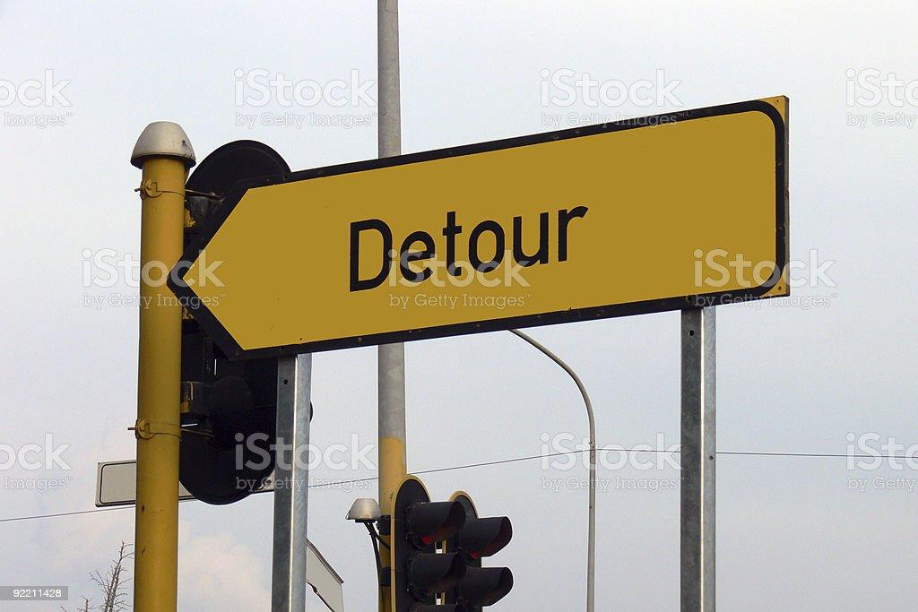 Detour signboard stock photo