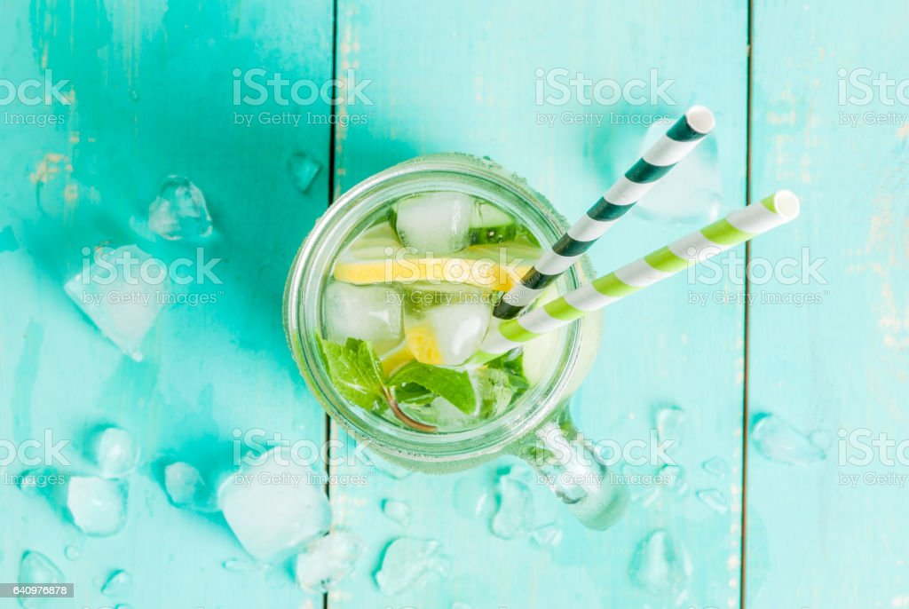 Detox cocktail of mint, cucumber and lemon stock photo