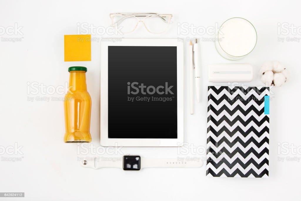 Detox drinks on white background stock photo