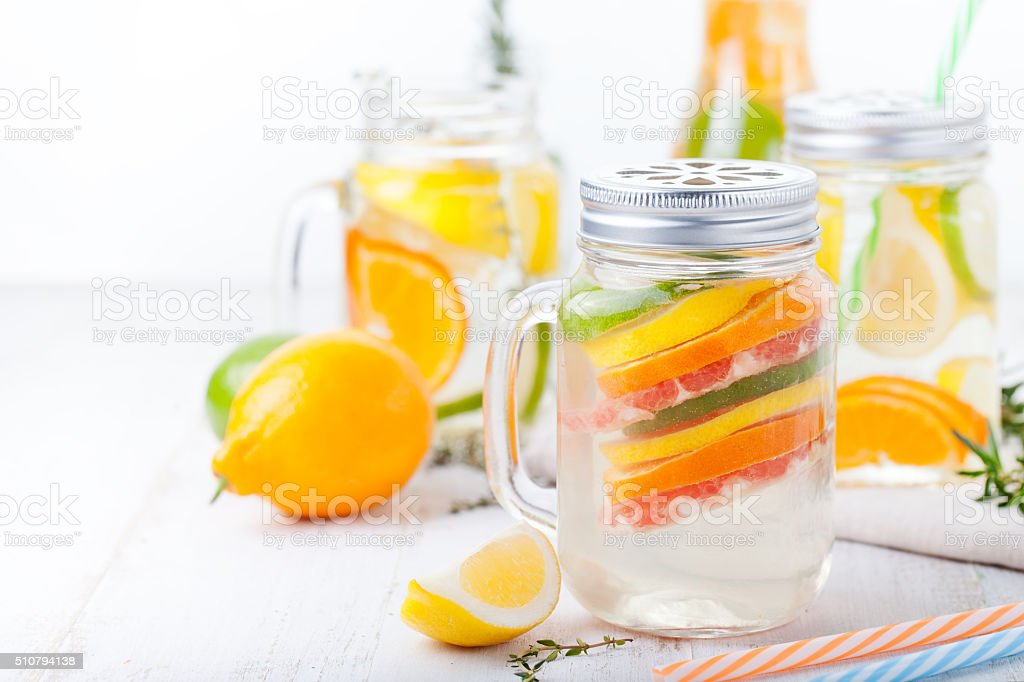 Detox fruit infused water Lemonade cocktail stock photo