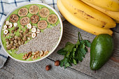 Detox healthy green smoothie bowl with bananas