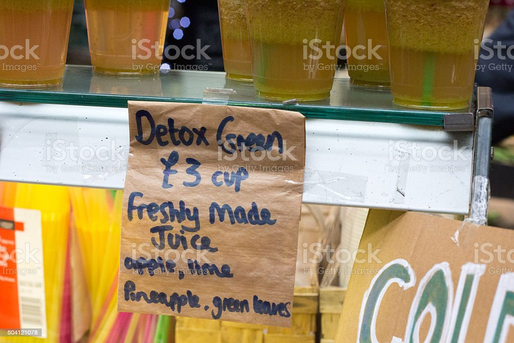 Detox Juice in Borough Market, London stock photo