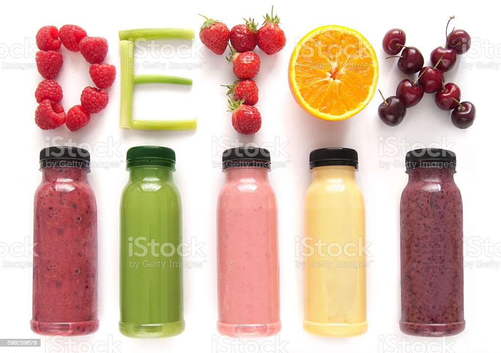 Detox juice smoothies stock photo