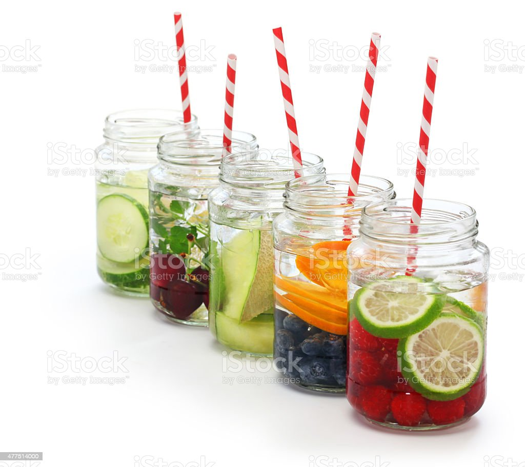 detox water on white background stock photo