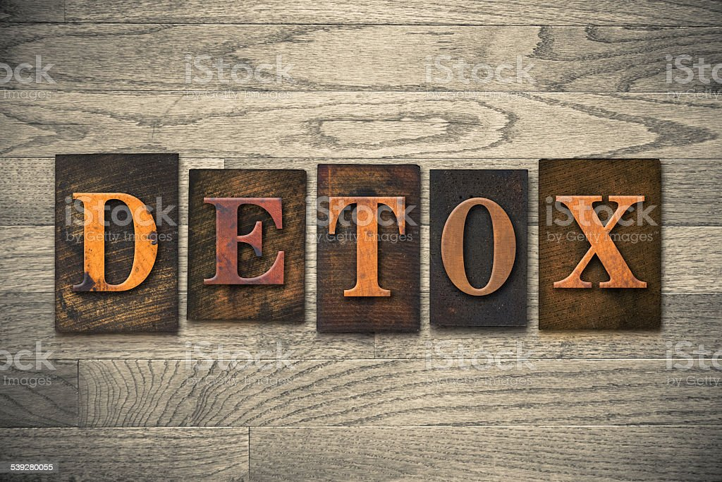 Detox Wooden Letterpress Concept stock photo