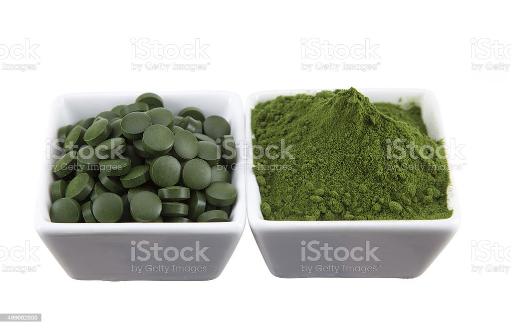 detox. young barley, chlorella superfood. stock photo