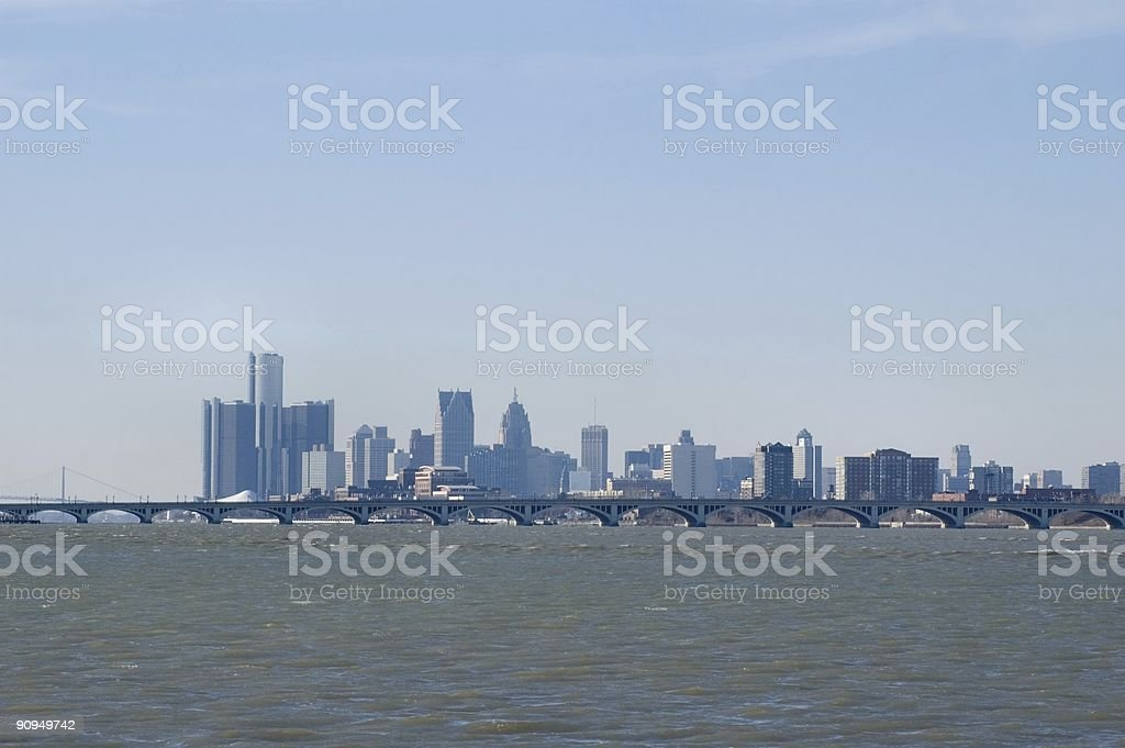 Detroit and Belle Isle Bridge stock photo