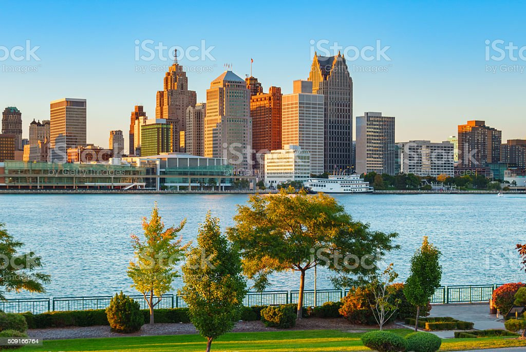 Detroit and Detroit River Michigan stock photo
