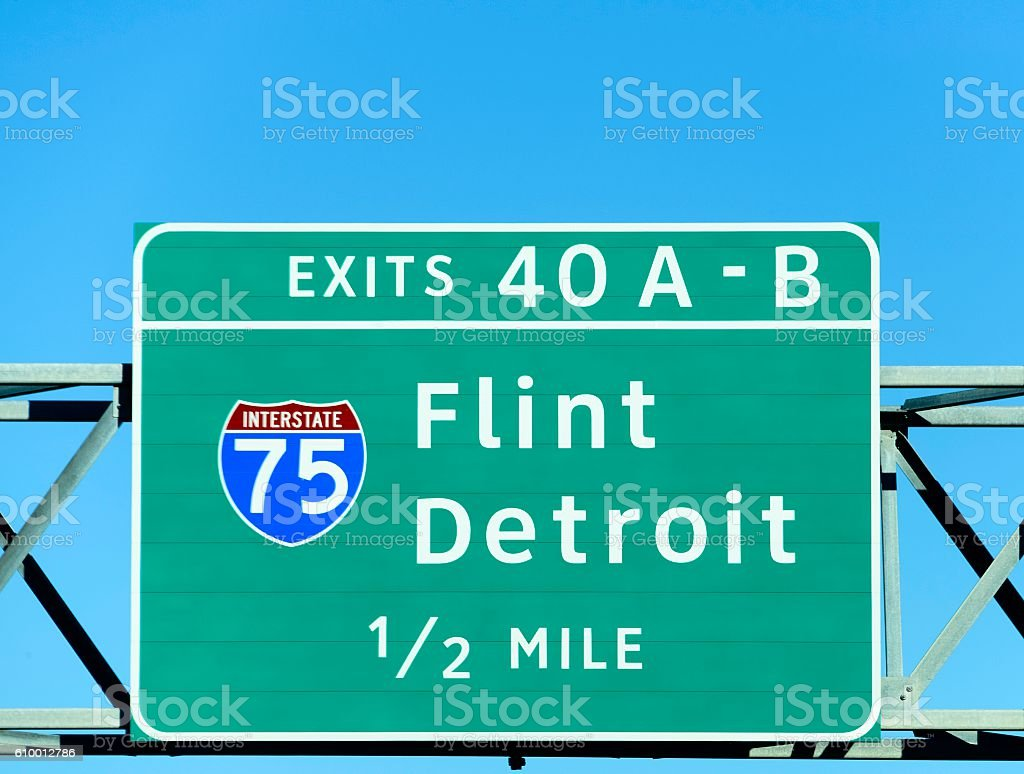 Detroit and Flint Michigan Exit Sign stock photo