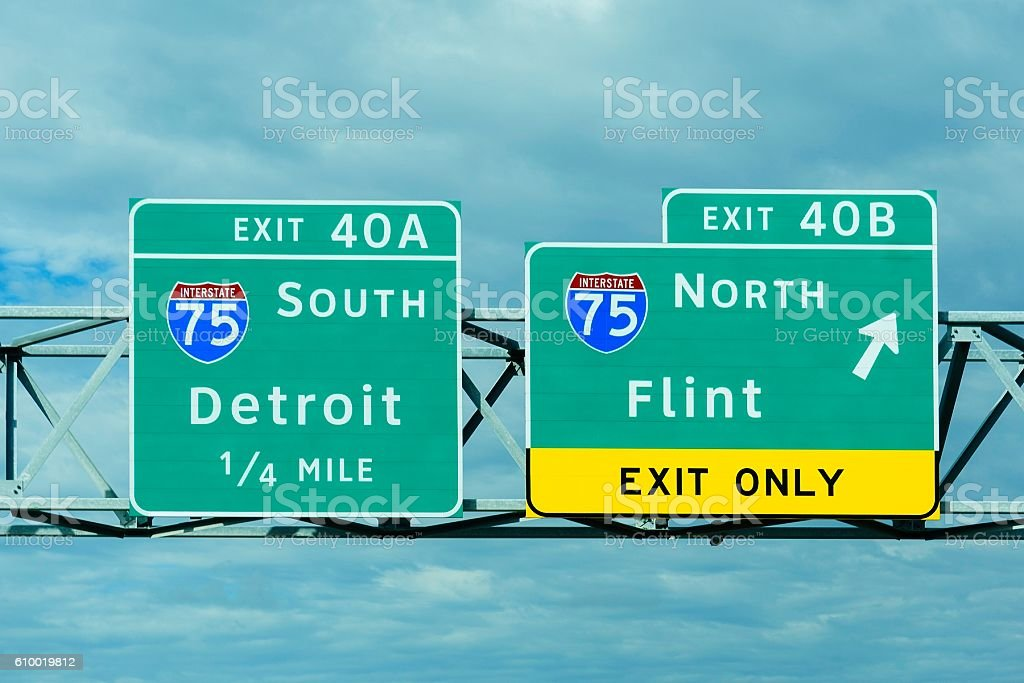 Detroit and Flint Michigan Exit Signs stock photo