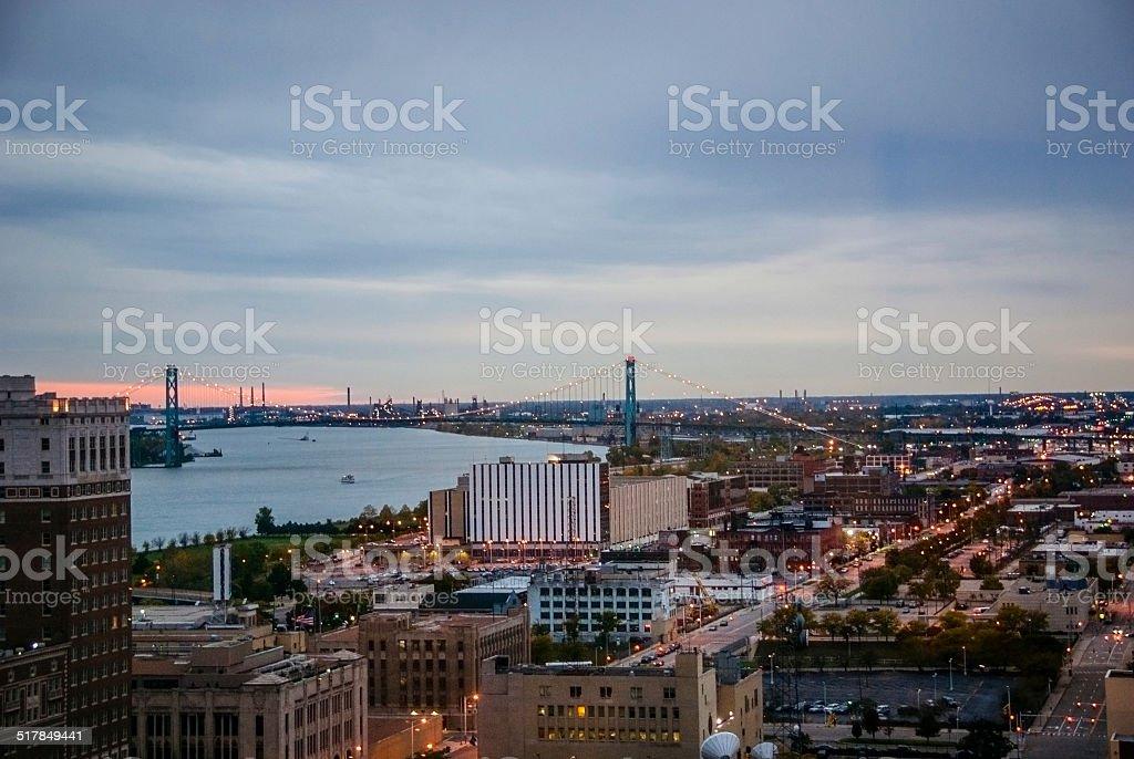Detroit and the Ambassador Bridge at Sunset stock photo