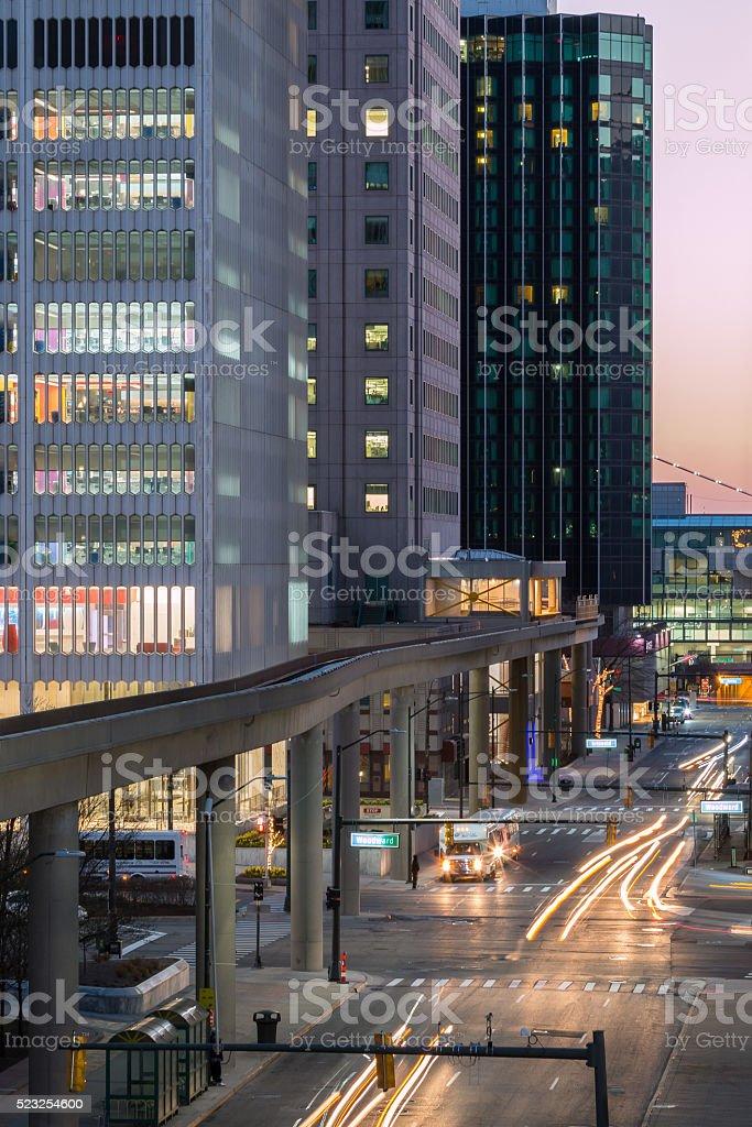 Detroit at Night, Larned Street stock photo