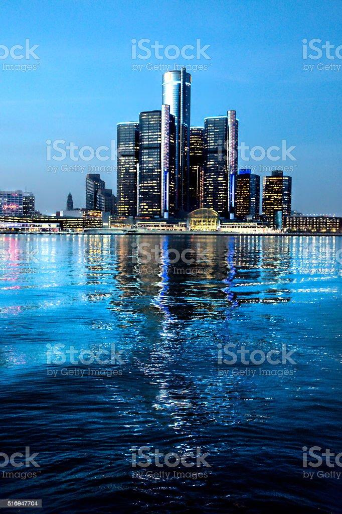 Detroit at Night stock photo