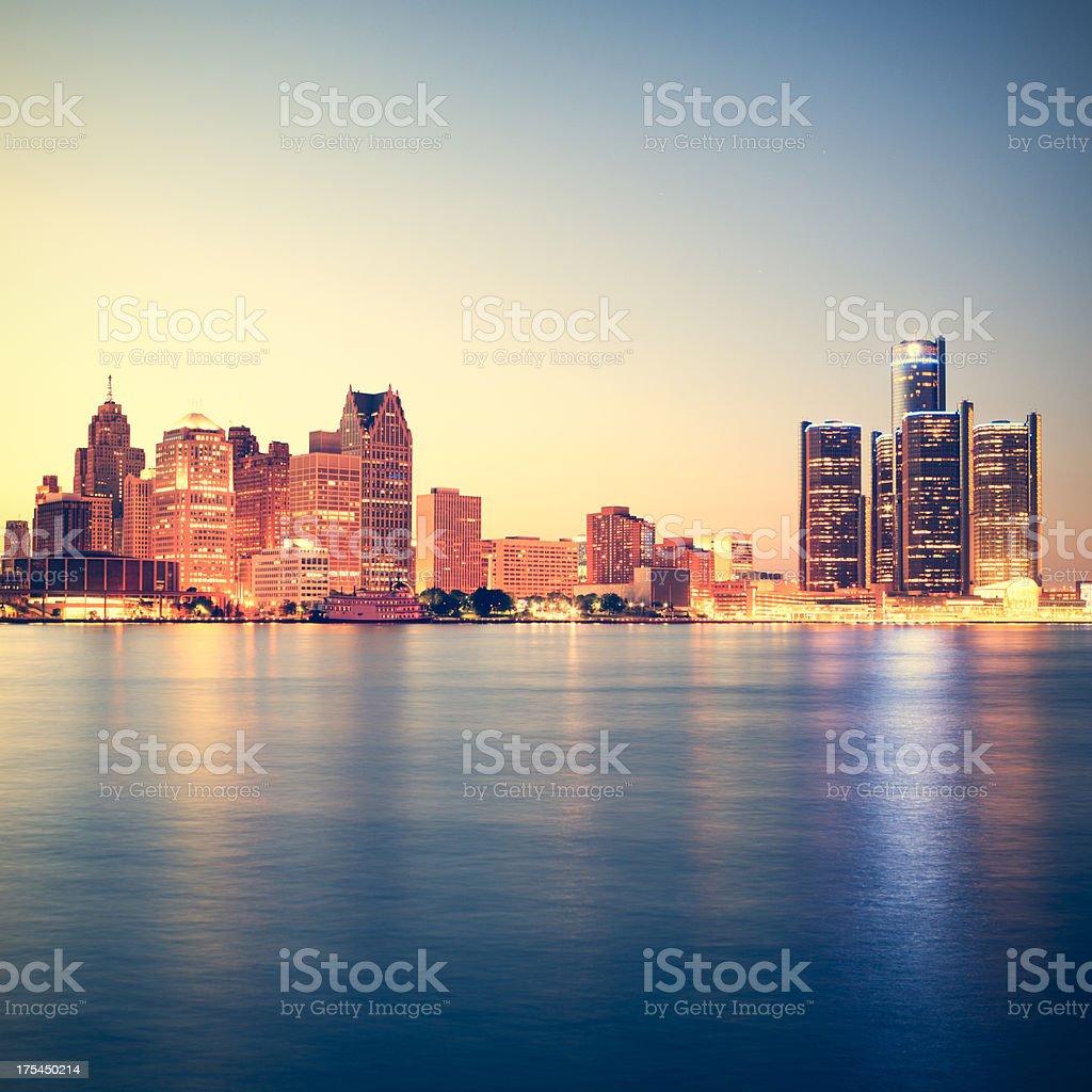 Detroit at sunset stock photo