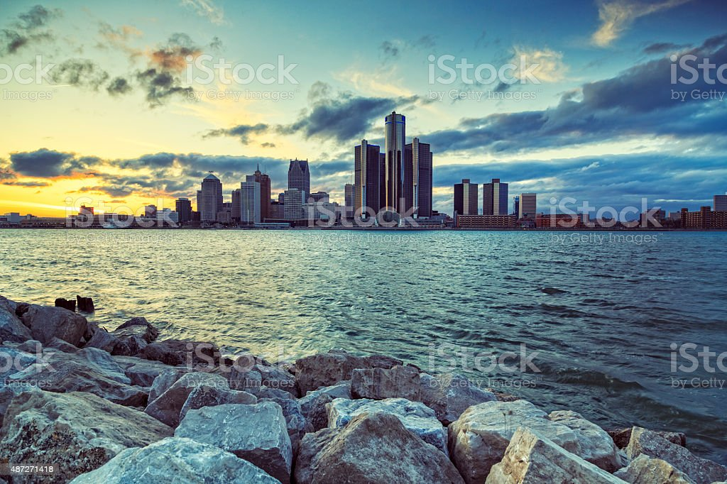 Detroit city during sunset , Michigan stock photo