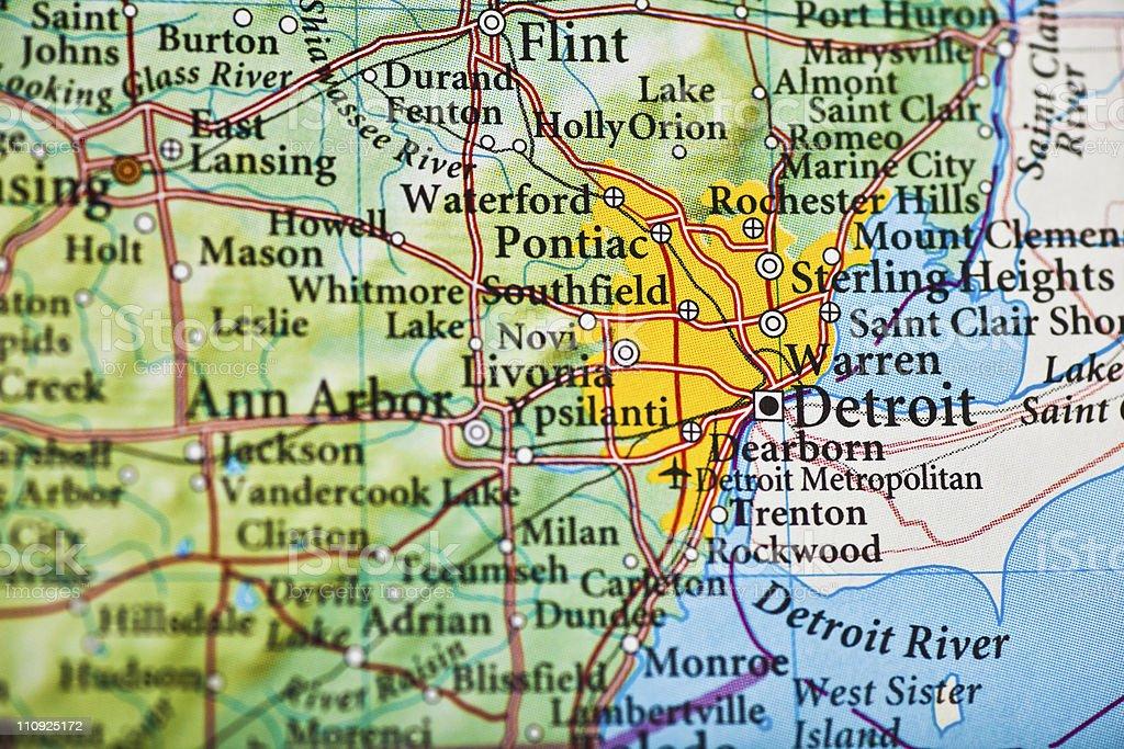 Detroit, MI map stock photo