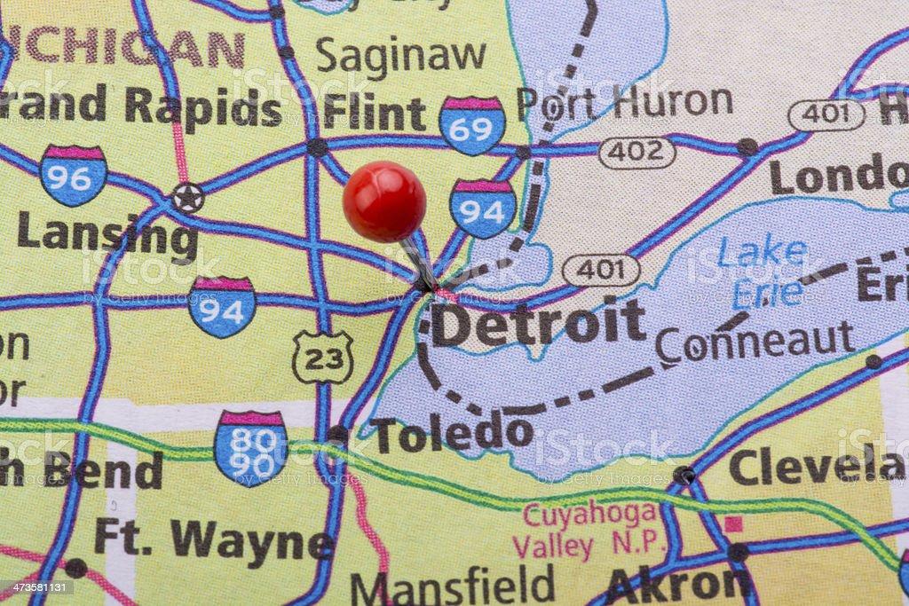 Detroit Mi Map Pin Stock Photo 473581131 Istock